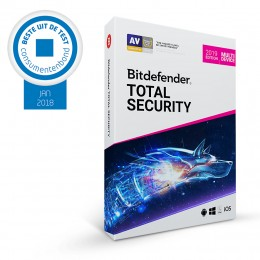 Beveiliging: Bitdefender Total Security Multi-Device 2019 3-Devices 1jaar