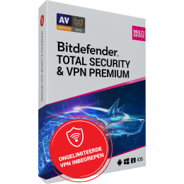 Security: Bitdefender Total Security + VPN Premium 10-Devices 3years
