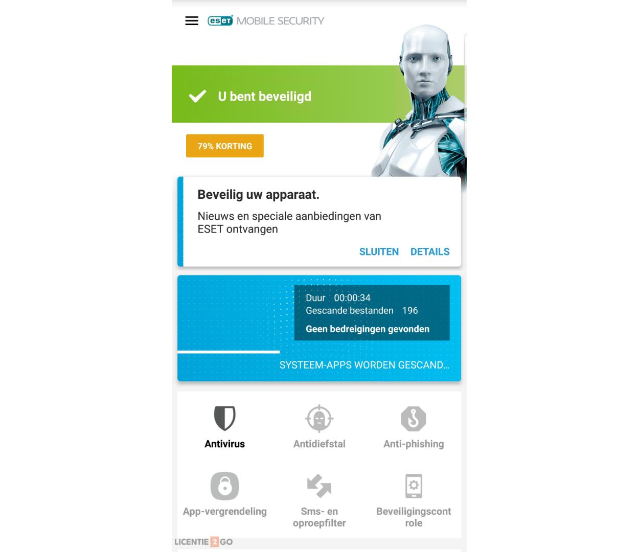 ESET mobile security hoofdscherm Scan