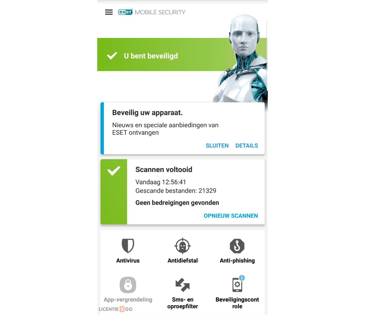 ESET Mobile Security hoofdscherm