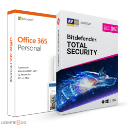 Office 365: Voordeelbundel: Office 365 Personal + Bitdefender Total Security 5 apparaten 1 jaar