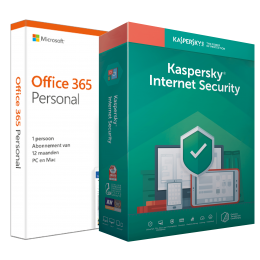 Office 365: Voordeelbundel: Office 365 Personal + Kaspersky Internet Security 5 apparaten 1 jaar