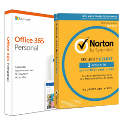 Office: Voordeelbundel: Office 365 Personal + Norton Security Deluxe 3 apparaten 1 jaar
