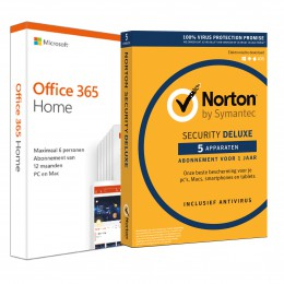 Office: Voordeelbundel: Office 365 Home + Norton Security Deluxe 5 apparaten 1 jaar