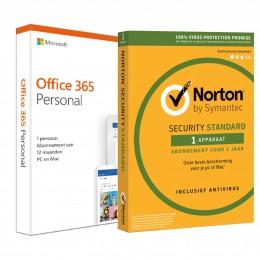 Office: Voordeelbundel: Office 365 Personal + Norton Security Standaard 1 apparaat 1 jaar