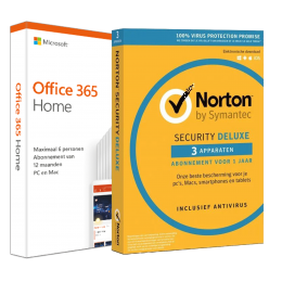 Office for home use: Voordeelbundel: Office 365 Home + Norton Security Deluxe 3 devices 1 year
