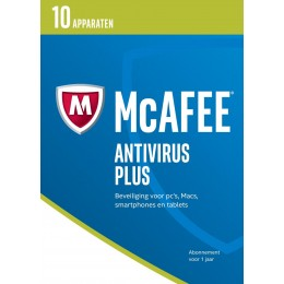 Antivirus: McAfee AntiVirus Plus 10-Apparaten 1jaar