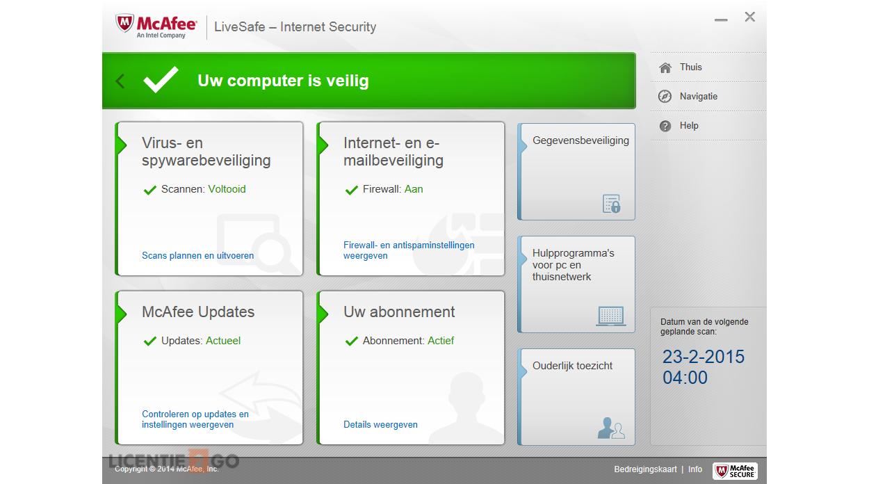 McAfee LiveSafe Screen 1