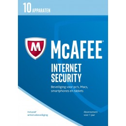 McAfee Internet Security 2017 Unlimited 1jaar