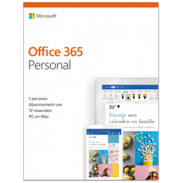 Office 365: Microsoft Office 365 Personal| 1Gebruiker 1jaar | Windows | Mac | Android | iOS | Updates inbegrepen