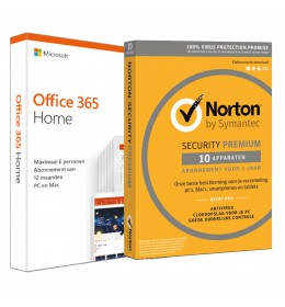 Voordeelbundel: Office 365 Home 6-apparaten + Norton Premium 10-apparaten
