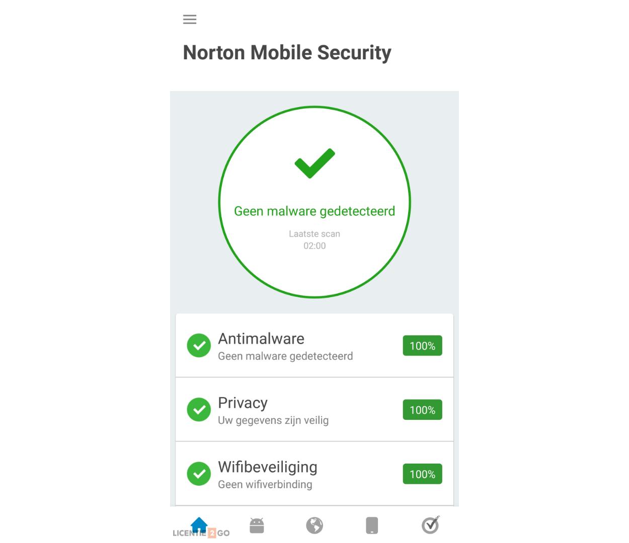 Norton Mobile Security beveiligingsoverzicht