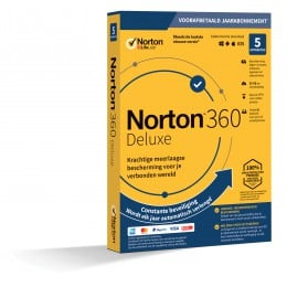 Totaalbeveiliging: Norton 360 Deluxe | 5Apparaten - 1Jaar | Windows - Mac - Android - iOS | 50Gb Cloud Opslag
