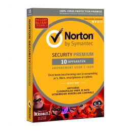 Beveiliging: Norton Security Premium 10-Apparaten + 25GB Backup 1jaar 2019