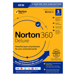 Norton Security Deluxe: Norton 360 Deluxe | 5Devices - 1Year | Windows - Mac - Android - iOS | 50Gb Cloud Storage