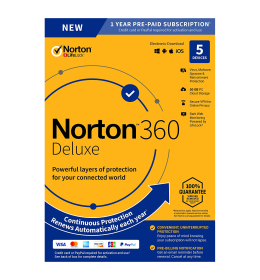 Norton 360 Deluxe | 5Devices - 1Year | Windows - Mac - Android - iOS | 50Gb Cloud Storage