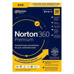Norton Security Premium: Norton 360 Premium | 10Devices - 1Year | Windows - Mac - Android - iOS |75GB Cloud Storage