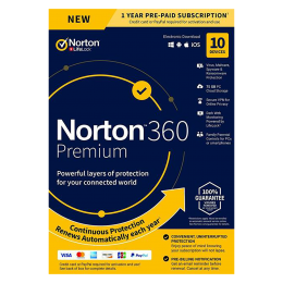 Norton 360 Premium | 10Devices - 1Year | Windows - Mac - Android - iOS |75GB Cloud Storage