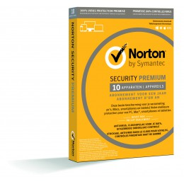 Totaalbeveiliging: Norton Security Premium 10-Apparaten + 25GB Backup 1jaar 2019 - Antivirus inbegrepen - Windows | Mac | Android | iOS