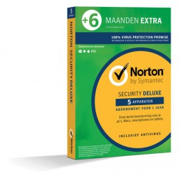 Antivirus: Norton Security Deluxe 5-Apparaten 1,5jaar