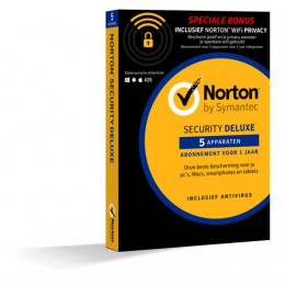 Totaalbeveiliging: Norton Security Deluxe + WiFi Privacy 5-Apparaten 1jaar 2019