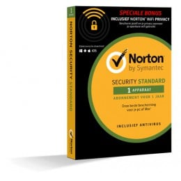 Norton Security Standard: Norton Security Standaard + WiFi Privacy 1-Apparaat 1jaar 2019