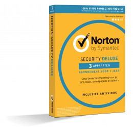 Totaalbeveiliging: Norton Security Deluxe 3-Apparaten 1jaar 2019 - Antivirus inbegrepen - Windows | Mac | Android | iOS