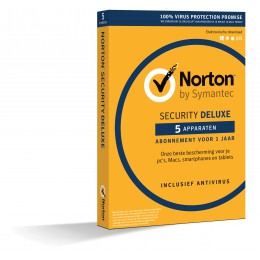 Totaalbeveiliging: Norton Security Deluxe 5-Apparaten 1jaar (bezorging)