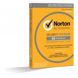 Antivirus: Norton Security Premium 10-Apparaten + 25GB Backup 1jaar