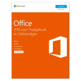 Kantoor: Microsoft Office 2016 Thuisgebruik & Zelfstandigen 1PC Windows