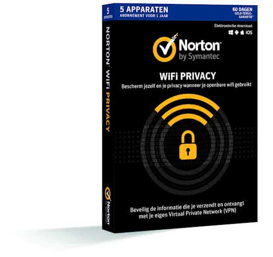 Norton WiFi Privacy - 5-Users 1year - Download - Multi-Device Windows/Mac/Android/iOs