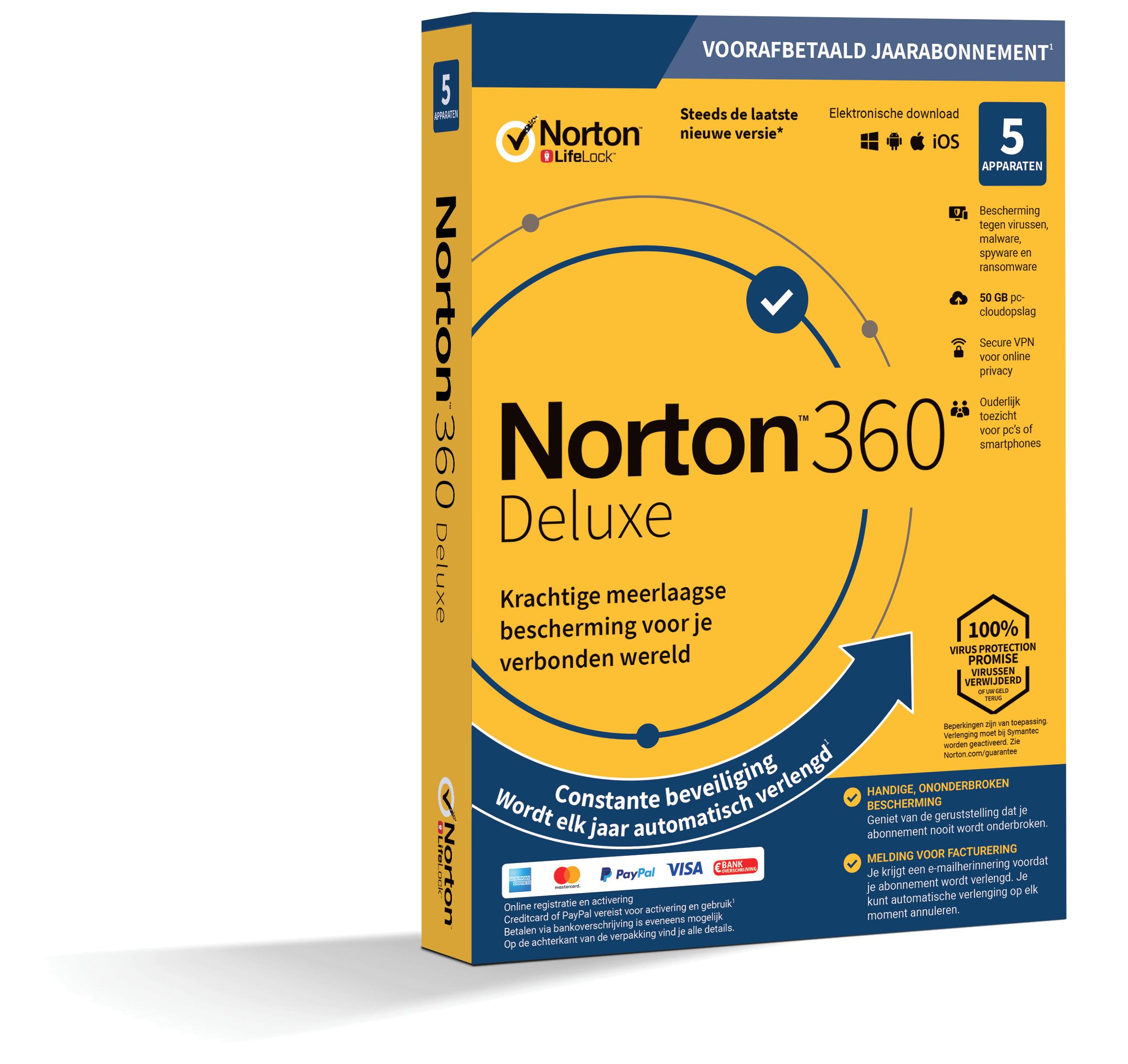 Norton 360 Deluxe | 5Apparaten 1Jaar | Windows Mac Android iOS | 50Gb Cloud Opslag